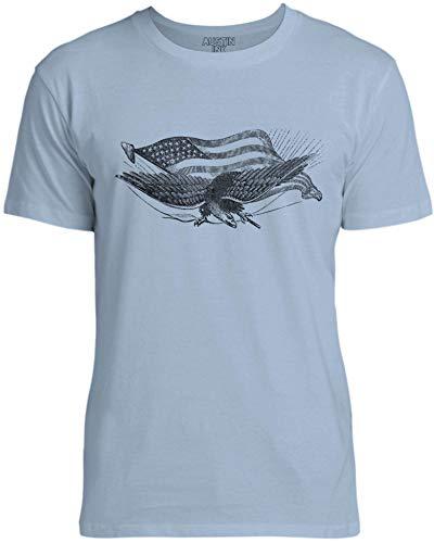 Austin Ink Apparel Womens Civil War Eagle Unisex Cotton T-Shirt, Light Blue, - Dagger S-ai