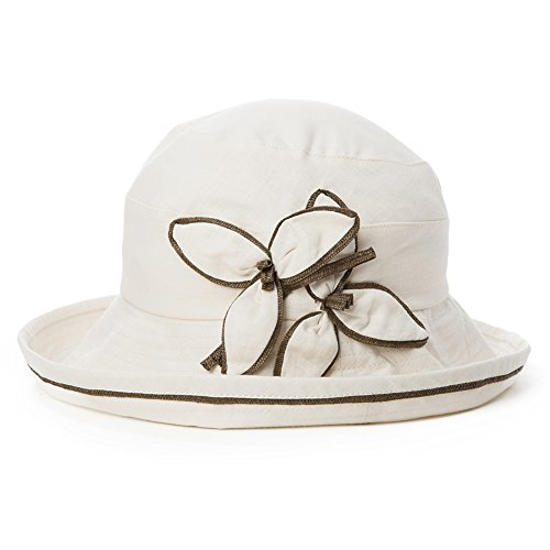 - Siggi Ladies SPF50+ 100% Linen Summer Sun Bucket Packable Foldable Wide Brim Hats with Chin Cord Flower Accent Beige
