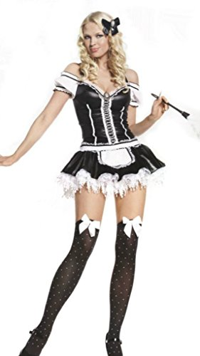 [Leg Avenue Womens Naughty French Maid Outfit Fancy Dress Sexy Costume, XL (7-10)] (Plus Size Fancy Dress Costumes Cheap)