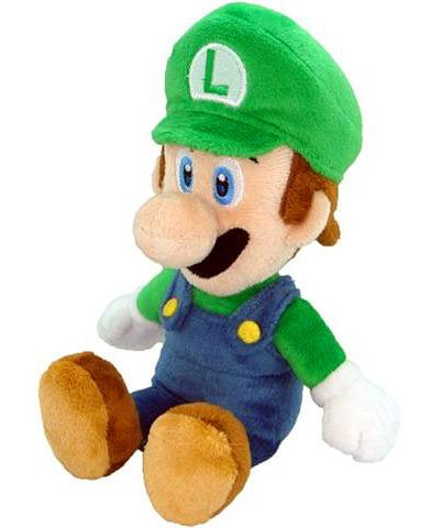 New Super Mario Bros. Wii 6 Inch Plush Sitting Luigi
