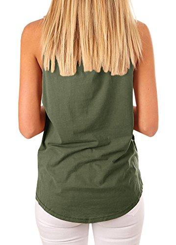 Mafulus Women's High Neck Tank Top Sleeveless Blouse Plain T Shirts Pocket Cami Summer Tops by Mafulus (Image #1)
