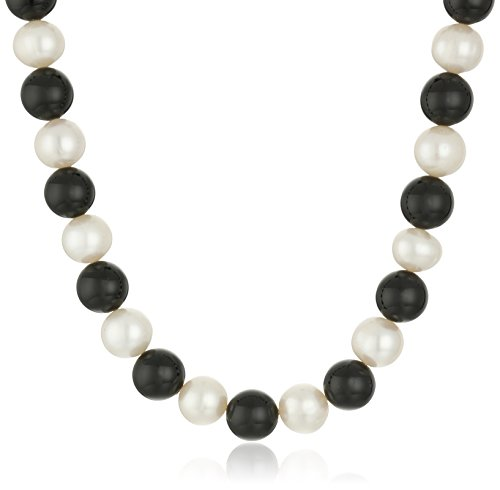 Sterling Silver Freshwater Cultured Pearl and Onyx Necklace and Bracelet Jewelry Set