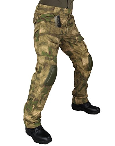 ZAPT Tactical Pants with Knee Pads Airsoft Camping Hiking Hunting BDU Ripstop Combat Pants 13 kinds Army Camo Uniform Military Trousers (A-TACS FG, S32)