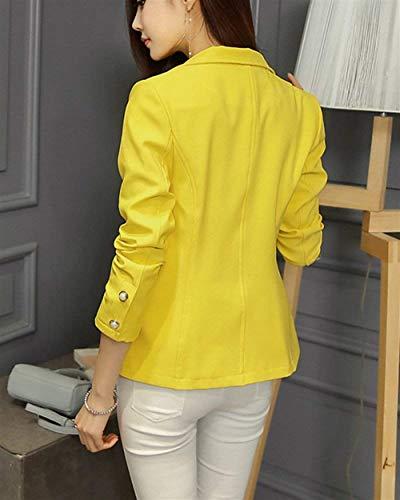 Slim Fit Colore Puro Primaverile Da Business Cappotto Donna Tasche Fashion Giacca Autunno Bavero Giacche Eleganti Con Gelb Button Tailleur Blazer Grazioso Di Manica Lunga Moda wvzRHqzx