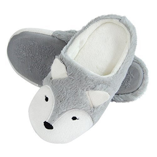 Image of Adorable Fuzzy Fox Animal Slippers for Women