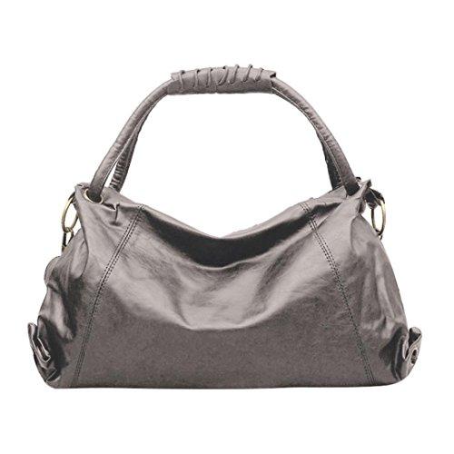 WILLTOO Womens Shoulder Bag Hobos Bag Fashion Tote Patent Handbag Crossbody&Messenger-Gift for Girlfriend (Gray)