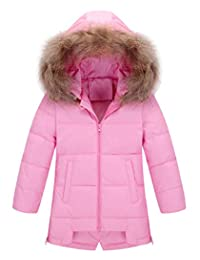 AIEOE Girl's Winter Hooded Down Coat Long Puffer Jacket Parka Outwear 3-8Years