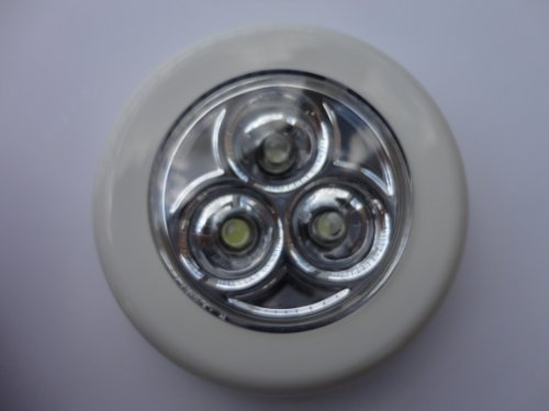 Ikea Ramsta Push Button Led Light White, Mounting Adhesive Pad Included Requires 3 AAA Batteries