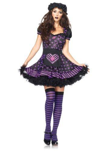 Sexy Rag Doll Adult Costumes (Leg Avenue Women's Dark Dollie Costume, Black/Purple, X-Small)