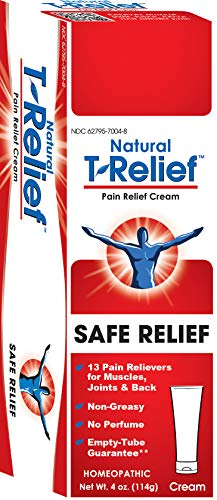 (T-Relief Pain Relief Cream Homeopathic Formula with Arnica - Topical Ointment to Soothe Minor Joint, Back and Muscular Pain - 4 Ounce)