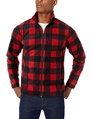 Amazon Essentials Men's Full-Zip Polar Fleece Jacket, Red Buffalo, Small