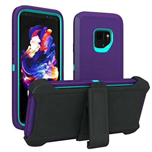 Galaxy S9 Case, ToughBox [Armor Series] [Shock Proof] [Purple   Aqua] for Samsung Galaxy S9 Case [Comes with Holster & Belt Clip] [Fits OtterBox Defender Series Belt Clip for S 9 Phone Cover]