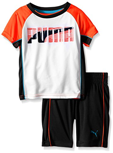 Puma Short Set (PUMA Little Boys' Toddler Short Sleeve Tee and Short Set, Orange, 4T)