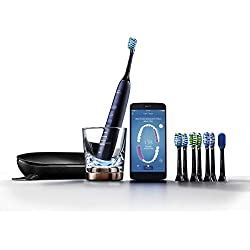 Philips Sonicare DiamondClean Smart Electric, Rechargeable toothbrush for Complete Oral Care, with Charging Travel Case, 5 modes, and 8 Brush Heads - 9700 Series, Lunar Blue, HX9957/51
