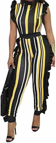 7cd387eff562 Uni Clau Women s Sleeveless Stripe Ruffle Bodycon Long Pants High Waist  Party Jumpsuits Romper Plus Size