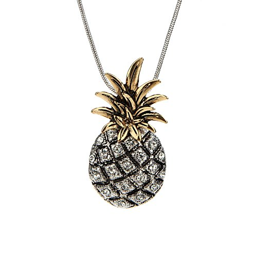 Zealmer Pineapple Necklace Rhinestone Handcrafted Fruit Pendant Necklace Metal Chain Vintage Silver (Pineapple Jewelry)