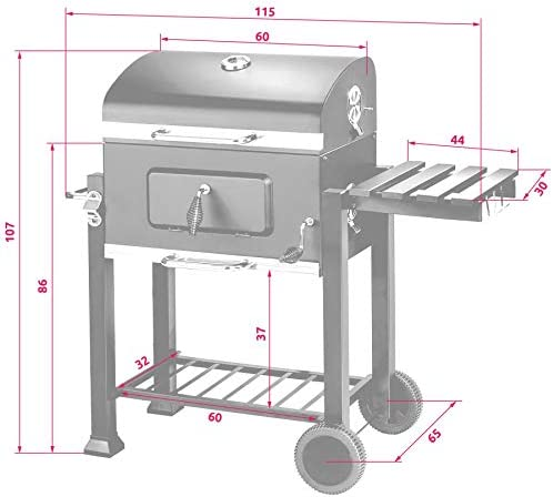 TecTake Barbecue à Charbon, Fumoir, Smoker, BBQ de Bois, Noir