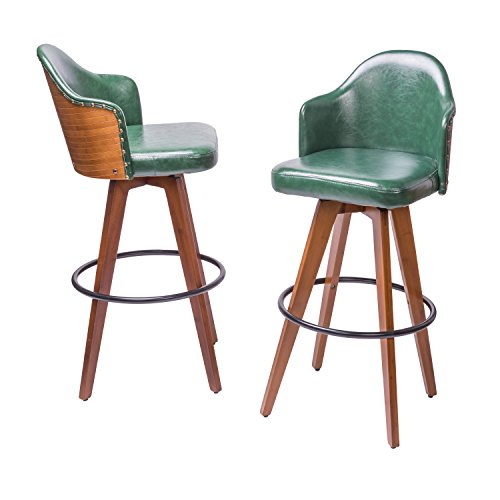 Supernova 2 pcs Natural Modern Minimalism Walnut Bonded Leather Bamboo Barstools (Deep Green) Bamboo Square Bar Stools