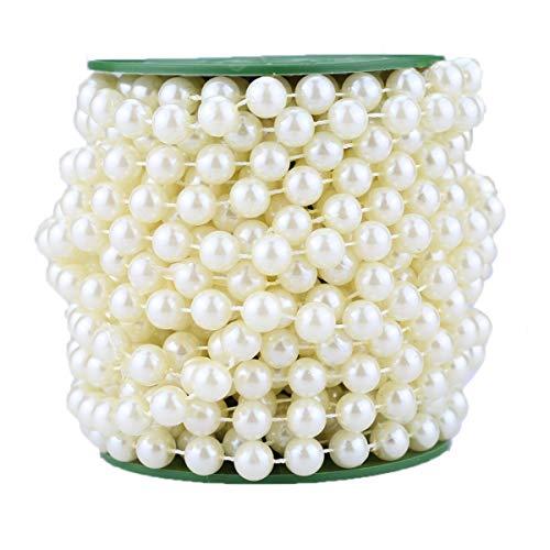 AllHeartDesires 33 Feet Roll Ivory Pearl String Bead Garland Strands Wedding Centerpieces Manzanita Tree Christmas Chandelier Deco ()