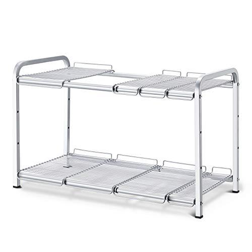 Simple Trending 2 Tier Under Sink Expandable Cabinet Shelf Organizer Rack for Kitchen Bathroom Storage, Silver
