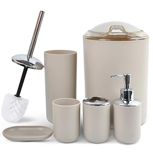 (CERBIOR Bathroom Accessories Set 6 Piece Bath Ensemble Includes Soap Dispenser, Toothbrush Holder, Tumbler, Soap Dish for Decorative Countertop and Housewarming Gift,Beige)