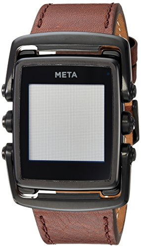 Meta Watch M1 Luxury Smart Watch for iPhone 4S and Above and Andriod 4.3 and Above Matte Black Steel Face Brown Leather Strap - Limited Edition Matte Black Face Brown Leather Strap by META WATCH LTD