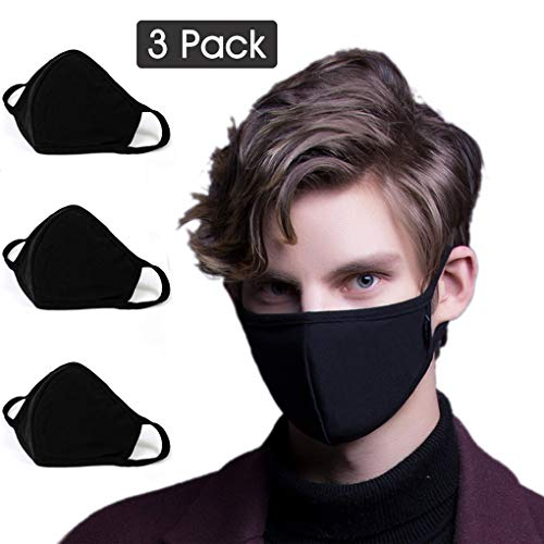 3 Pack Activated Carbon Anti Dust Face Mouth Mask, WITERY Anti Dust Mask Anti-Fog Mask Activated Carbon Earloop Mouth Mask Face Masks for Men Women (3 Pcs -