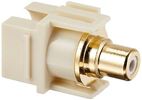 Monoprice 106574 Keystone Jack-Modular RCA with White Center Flush Type, Ivory