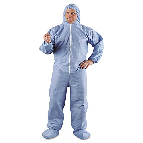 KleenGuard 45355 A65 Hood & Boot Flame-Resistant Coveralls, Blue, 2X-Large, 25/Carton