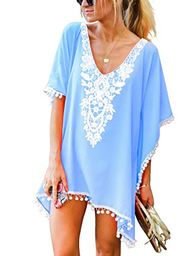 Adreamly Women's Pom Pom Trim Kaftan Crochet Chiffon Swimwear Bathing Suit Beach Cover Up Free Size Sky Blue