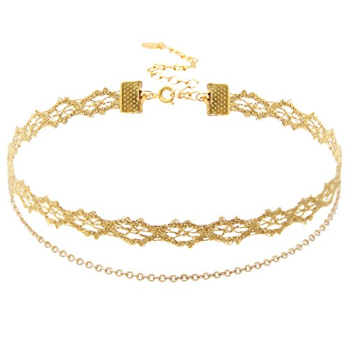 Choker Necklace Gold Lace and 18K Gold Plated Chain Double Choker. Lace Length: 11
