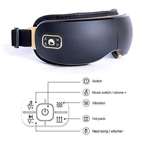 Ojos dispositivo de masaje eléctrica Reduzca Ojo oscuros anillos, calor/música y aire Compresión Tres modos Ojo Cuidado Mejora el Dormir