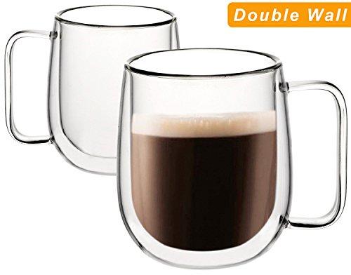 Huada Double Wall Insulated Borosilicate Glass Mugs Modern Espresso Cups, 10-Ounce, Set of (2 Coffee Cups Mug)