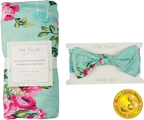 - Posh Peanut Baby Swaddle Blanket - Large Premium Knit Baby Swaddling Receiving Blanket and Headband Set, Baby Shower Newborn Gift (Aqua Floral)