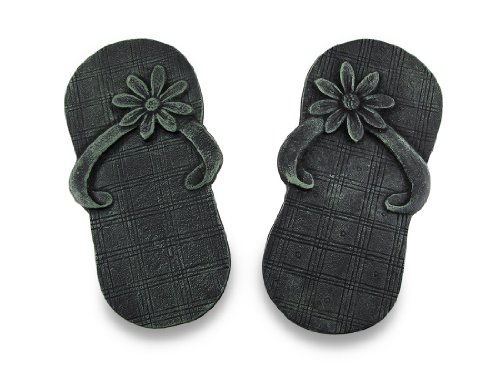 Things2Die4 Pair of Cast Iron Flip Flop Stepping Stones Verdigris Finish (Path Verdigris)