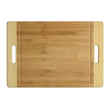 Two Handles ,Thick Extra large, Natural Bamboo Wood ,Cutting Board , Chopping Surface, Serving Cheese Plate, Bread Tray , Special Holiday and Hosting gift