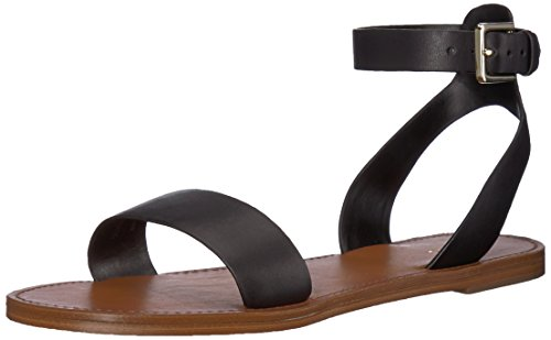 ALDO Women's Campodoro Flat Sandal, Black Leather, 8.5 B US