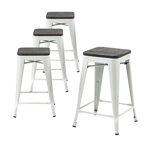 Height Set Counter Bistro (Buschman Wooden Seat Counter High Tolix-Style Metal Bar Stools, Indoor/Outdoor, Stackable, 24