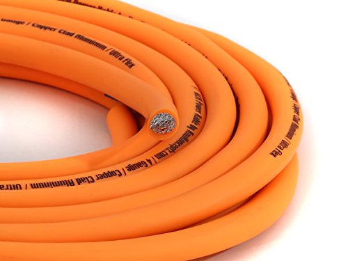 KnuKonceptz KCA Kandy Kable Neon Orange 4 Gauge Power Wire (Sold in 10 foot increments)