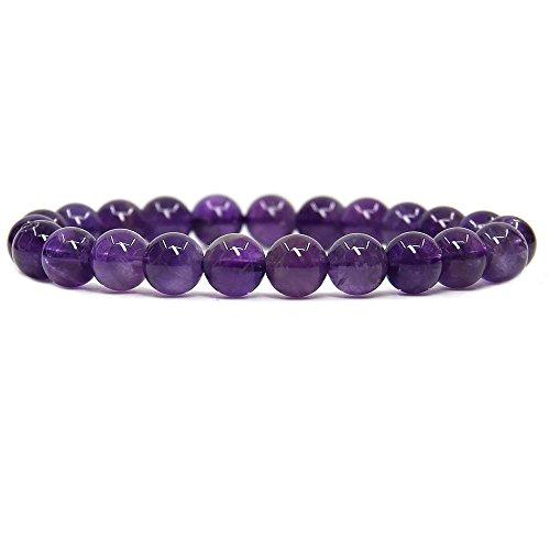Natural A Grade Dark Amethyst Gemstone 8mm Round Beads Stretch Bracelet 7 Unisex