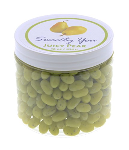 Jelly Belly 1 LB Juicy Pear Flavored Beans. (One Pound, 1 Pound) Bulk Jelly Beans in a resealable and reusable jar.