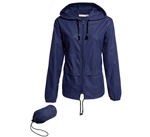 Hount Women's Lightweight Travel Trench Waterproof Raincoat Hoodie Rain Jacket (M, Navy Blue)