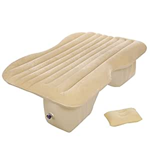 Ancheer Car Air Bed, Inflatable Mattress Back Seat Cushion with Air Pump For Travel,Camping,Car and Swimming (Beige)