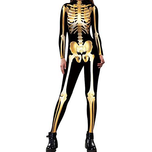 Slim Bloom Women's Spandex Printed Glow In The Dark Skeleton Catsuit Gold