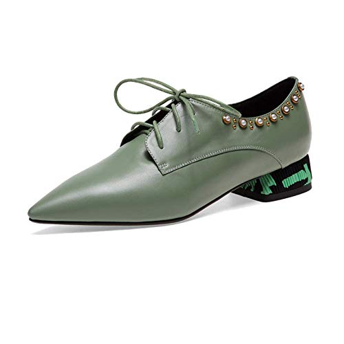 Broch Confortable Green Casual Zpedy Dentelle ville Chaussures Pointu Wearable de wx7q0YR