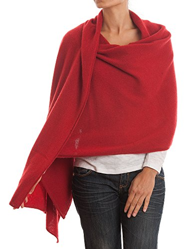 Dalle Piane Cashmere - Stole 100% cashmere - Made in Italy, Color: Red, One size (Womens Poncho Cashmere)