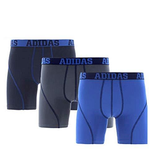 Adidas Mens Climalite Performance Boxer Brief Underwear (3-Pack) Blue/Gray, Medium