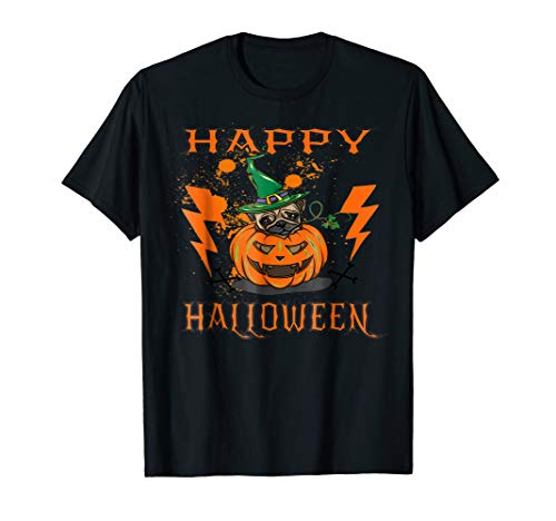 Halloween Pumpkin Pug Costume TShirt Dog Pet Hat Scary Tee ()