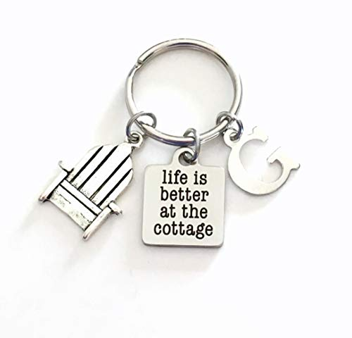 Life is better at the cottage Key Chain, Gift for Grandparent Keychain, Vacation House Keychain, Grandfather Grandmother keyring, Present for Women, Men, Mom, Dad, Mother's, Father's beach chair ()
