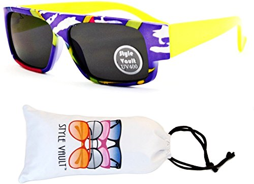 KD3067-VP Style Vault Kids(0-12 months) Flat Top Sunglasses (B2487F #3 Neon Yellow Arms, - Arms Flattop